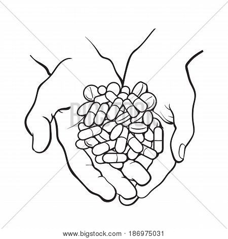 Two cupped hands holding handful, pile of pills, tablets, medicine, black and white sketch style vector illustration on white background. Drawing of cupped hands holding handful, pile of pills