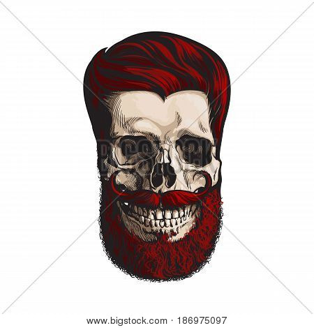 Hand drawn human skull with hipster red hairdo, beard and moustache, sketch style vector illustration isolated on white background. Hand drawing of human skull with hipster red hair, beard and whisker