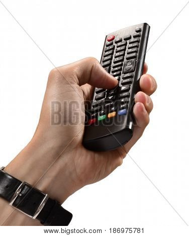Hand hold television remote control on white background.