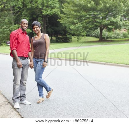 African American couple standing outdoors