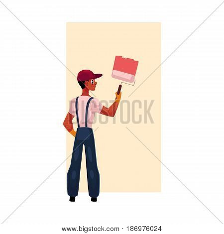 Black, African American painter painting wall with big brush, cartoon vector illustration isolated on white background. Full length portrait of black, African painter, construction worker, rear view