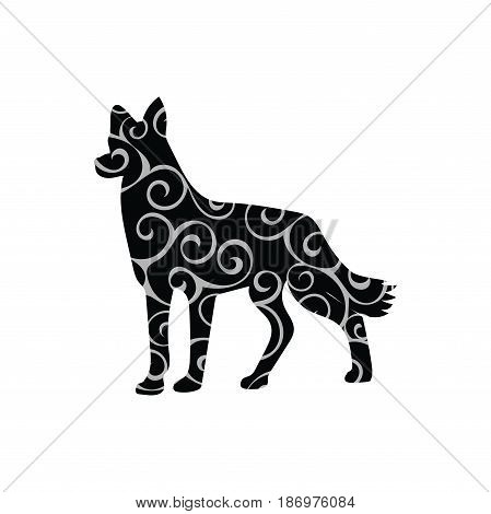 Dog pet color silhouette animal. Vector Illustrator.