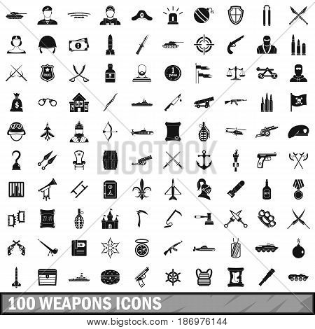 100 weapons icons set in simple style for any design vector illustration