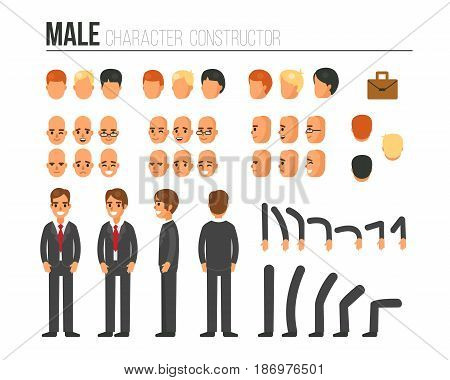 Male character constructor for different poses. Set of various men's faces hairstyles hands legs. Vector illustration.