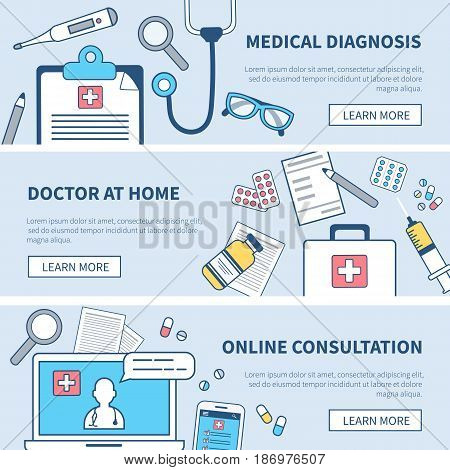 Medical banners set. Concept medicine illustration in modern flat line style for web banner and backgrounds.