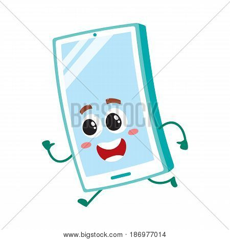 Funny cartoon mobile phone, smartphone character running, hurrying somewhere, vector illustration isolated on white background. Happy cartoon smartphone character running fast