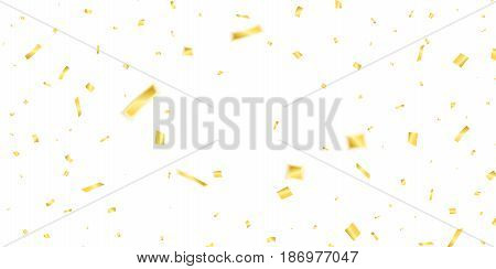Golden confetti. Holiday confetti isolated on white background. Flying confetti.