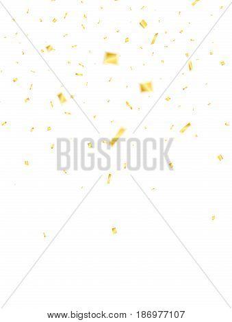 Confetti. Golden confetti isolated on white background. Flying confetti.