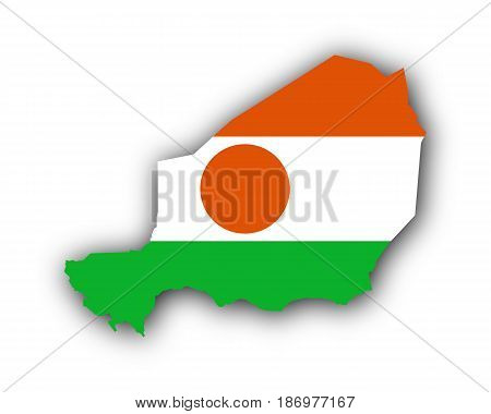 Map And Flag Of Niger