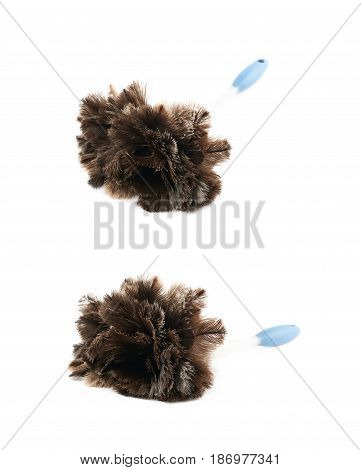 Feather stick duster isolated over the white background, set of two different foreshortenings
