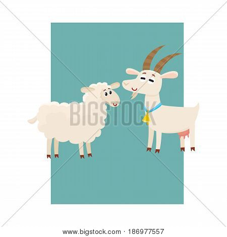 Poster, label, banner template with farm smiling goat and sheep, cartoon vector illustration. Cute and funny farm goat and sheep with friendly faces and big eyes on banner, poster, card template