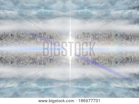 Digital composite of up side down city. mirror effect and flare in the middle