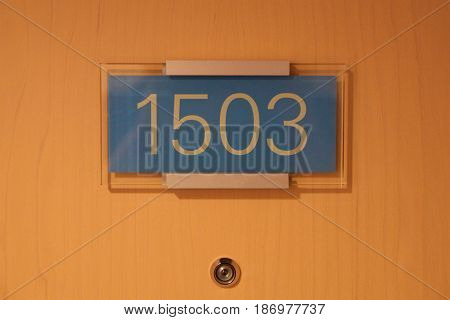 VIENNA, AUSTRIA - APR 29th, 2017: hotel door number, close up image of number 1503, which is a Presidental Suite in the Hilton Vienna.