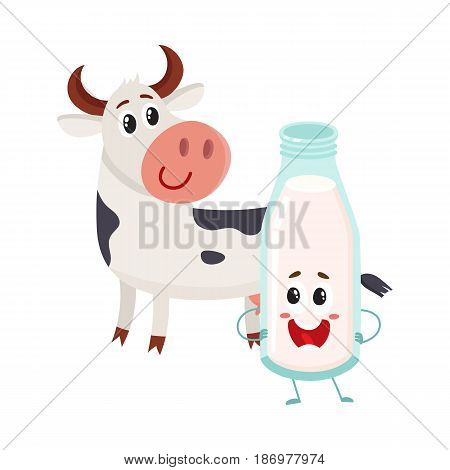 Funny farm cow and milk bottle characters with smiling human faces, cartoon vector illustration isolated on white background. Cute and funny cow and milk bottle characters, standing and smiling