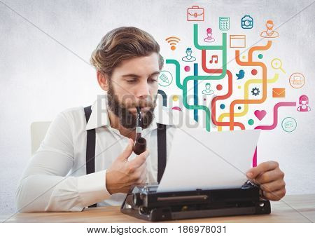 Digital composite of Man with typewriter against colourful business graphics and white wall