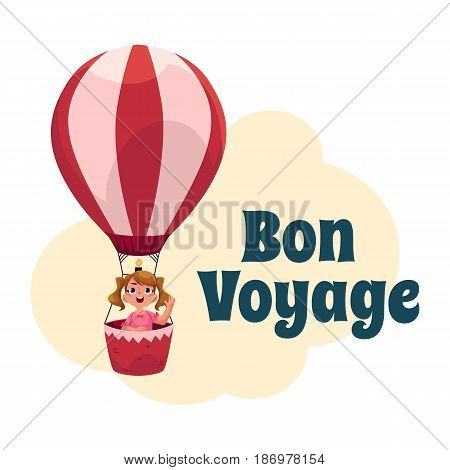 Bon Voyage postcard, banner, poster design with little girl flying in hot air balloon, cartoon vector illustration. Little girl flying up in hot air balloon, travel, tourism banner, poster template