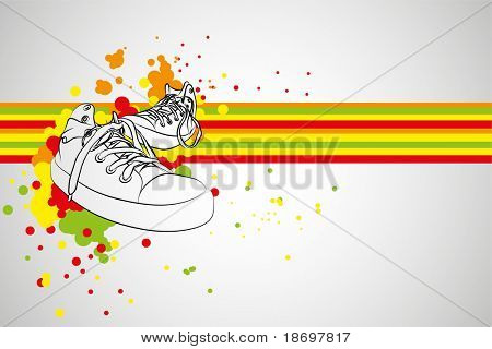 black vector sneakers on gray background (illustration)