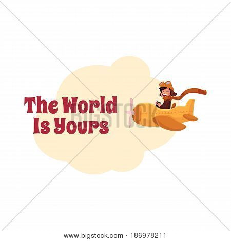 The World is Yours postcard, banner, poster design with little boy pilot in airplane, cartoon vector illustration. Little boy flying in airplane, plane, aircraft, travel poster template