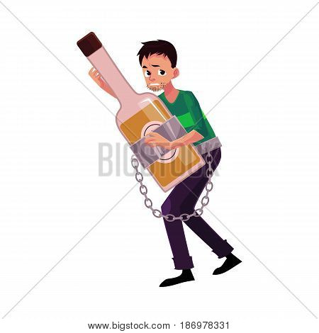Unshaven man holding bottle of liquor, chained to it, alcohol dependence, abuse, disorder, cartoon vector illustration isolated on white background. Man chained to alcohol bottle he holds in hands