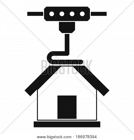 3d printer printing house icon in simple style isolated vector illustration