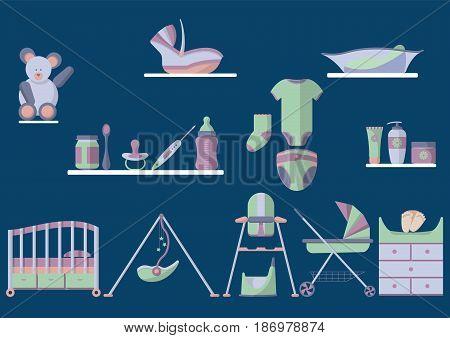 Newborn baby essentials vector illustration flat design set