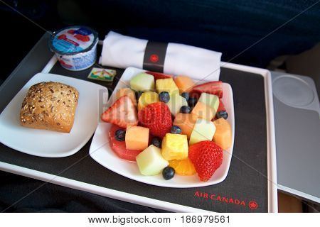TORONTO, CANADA - JAN 27th, 2017: Air Canada Business Class in-flight meal, breakfast with fresh cutted fruits, coffee, yogurt and a bun.