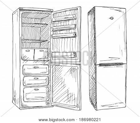 Set refrigerators isolated on white background. Vector illustration of a sketch style.