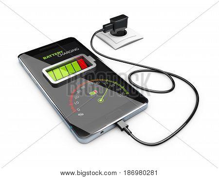 Smart Phone Charging Battery, 3D Illustration