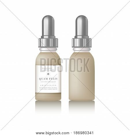 Realistic essential oil beige bottle. Mock up bottle. Cosmetic vial, flask, flacon. Container for perfume. Medical bank. Cosmetic dropper-bottle for serum. Prescription bottle with design label