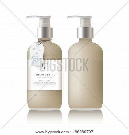 Realistic beige bottle of liquid soap in white background. Cosmetic bottle for a cream, shampoo, oil, gel. Mock up. Design label for container. Batcher. Cosmetic products