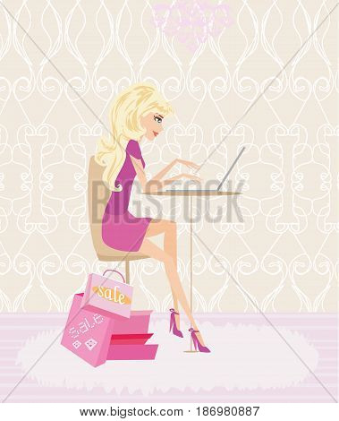 Online shopping girl on her laptop , vector illustration
