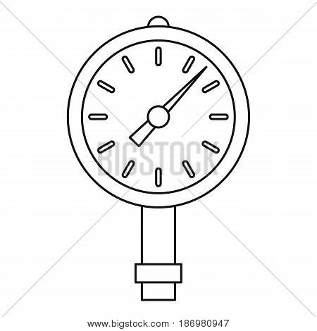 Manometer or pressure gauge icon in outline style isolated vector illustration