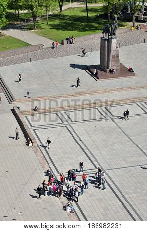 VILNIUS - MAY 16: Unidentified people visit Cathedral Square in Vilnius on May 16 2017 in Vilnius Lithuania. The Cathedral Square in Vilnius is the main square of the Vilnius Old Town