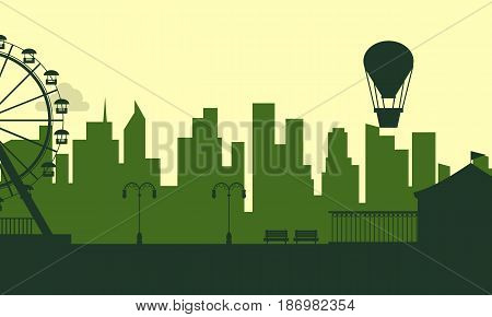 Silhouette of amusement park with city background scenery illustration