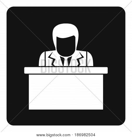 Orator speaking from tribune icon in simple style isolated vector illustration
