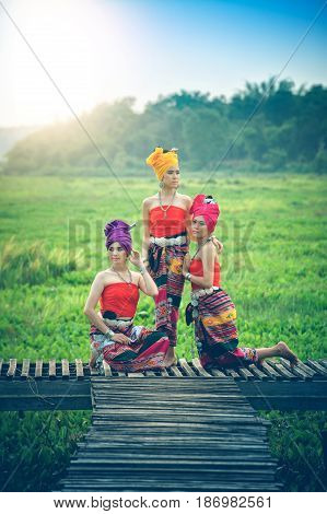 Thai Woman In Traditional Costume (thai Culture Style), Thailand.