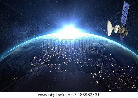Low angle view of 3d solar power satellite against image of a earth