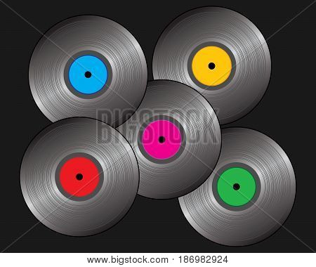 an illustration of five 80s style vinyl records with colorful labels on a black background