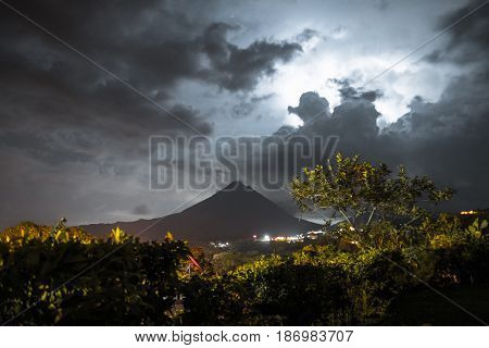 Volcano of Arenal during thunderstorm. Costa Rica