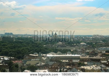 Lviv panorama in sunset time at early spring.