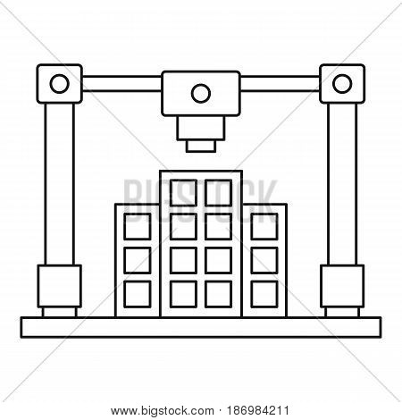 3d printer printing layout of building icon in outline style isolated vector illustration