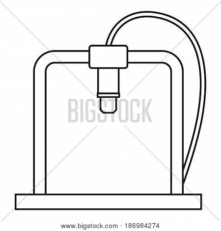 3D printer frame icon in outline style isolated vector illustration