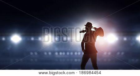 Elegant guitarist silhouette