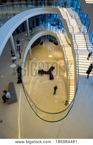 CRACOW POLAND - FEBRUARY 27 2016: Foyer with staircase. ICE Krakow Congress Center Kraków Poland. Architect: Ingarden & Ewy Ararta Isozaki