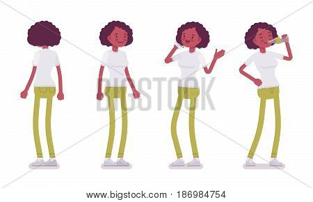 Set of black or african american young woman in standing pose, using phone, chatting, drinking from the bottle, front, rear view, vector flat style cartoon illustration, isolated, white background