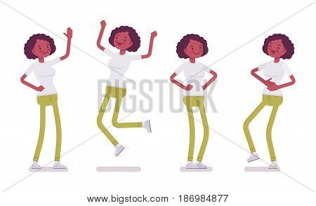 Set of black or african american young woman, standing and jumping with joy, belly laughing, akimbo pose, positive emotions, vector flat style cartoon illustration, isolated, white background