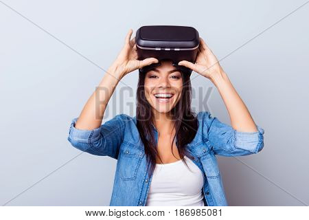 Cheerful Hispanic Girl Is Taking Off  Vr Glasses And Smiles Widely, New Experience Is So Cool!