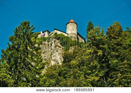 Fortress on a cliff at lake Bled in Slovenian alps, Slovenia