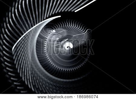 Monochrome screwdriving rotating abstract fractal on black background. Virtual Reality. Design element. Space for text