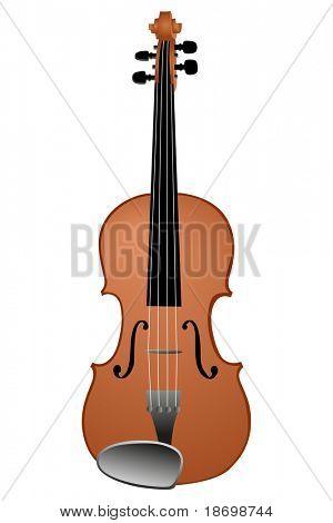 Vector illustration of violin on white background